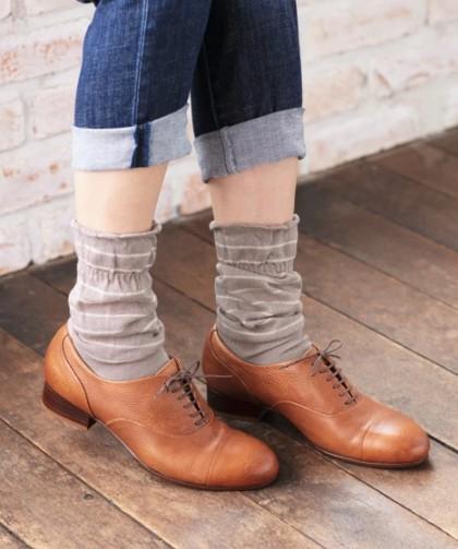 チェックやボーダーの靴下で秋を取り入れる ぽっちゃり大人女子の靴下コーデ