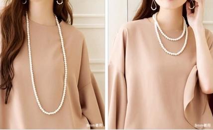 2種類のロングパール風ネックレス ぽっちゃりさんにおすすめのパーティードレス・お呼ばれ服