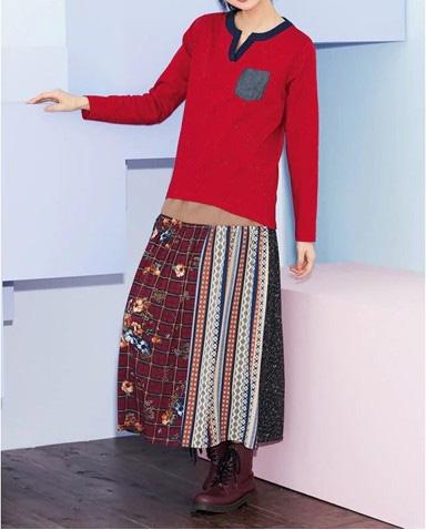パッチワークロングスカート ぽっちゃりさんにおすすめの秋コーデ・アイテム