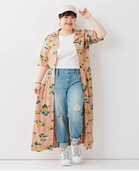 アロハ風花柄ロングワンピース