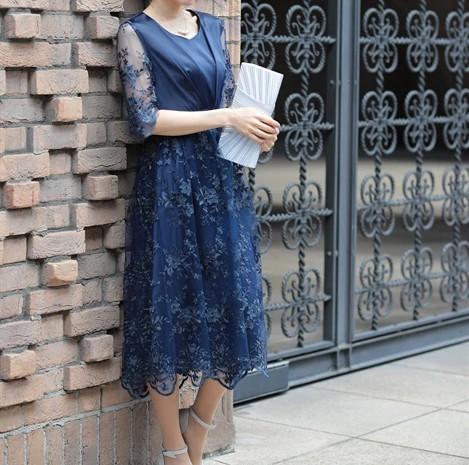 スカート袖レースドレス グラマーさんにおすすめのドレス