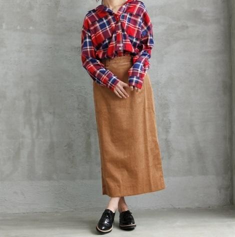 ゆるふわコーデュロイスカート_01 ぽっちゃりさんにおすすめの秋冬のコーデュロイコーデ