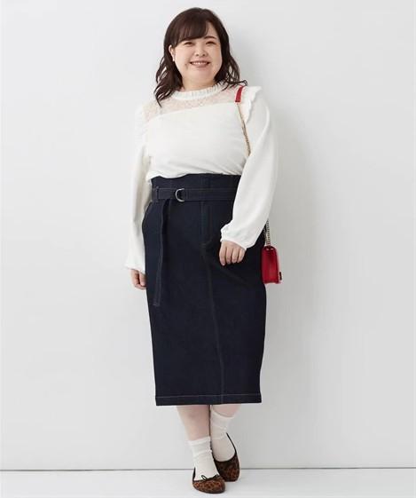 デニムタイトスカート ぽっちゃりさんの痩せ見えコーデのコツ
