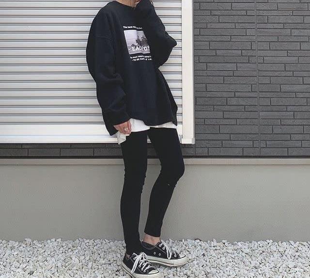 ロング丈スウェット×スキニー_02