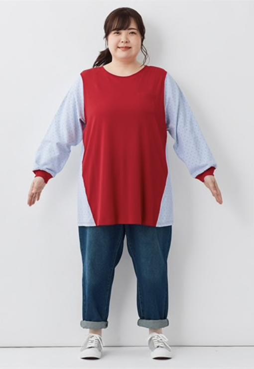 着やせ効果のあるロングTシャツ + パンツ
