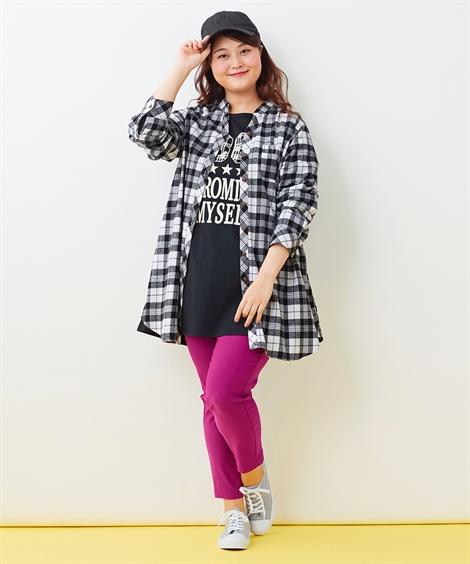 ロングTシャツ+パンツ ぽっちゃりさんにおすすめのBBQ・バーベキューコーデ