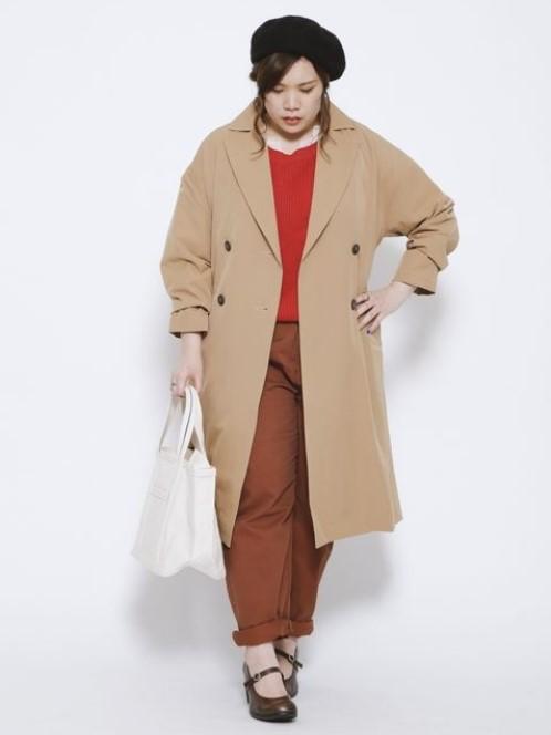 トレンチガウンコートコーデ 骨格ストレートさんに似合うコートスタイル ぽっちゃりさんにおすすめ