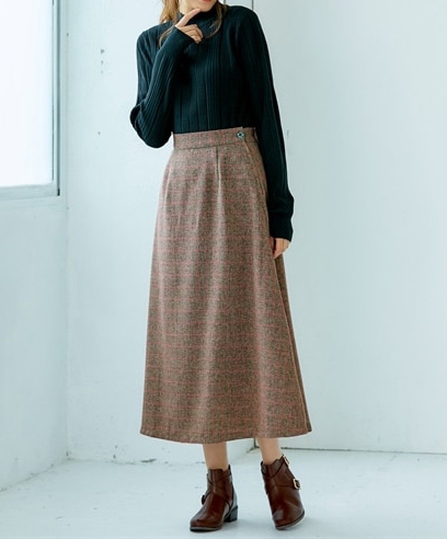トールサイズ袖丈たっぷりランダムリブプチハイネックセーター