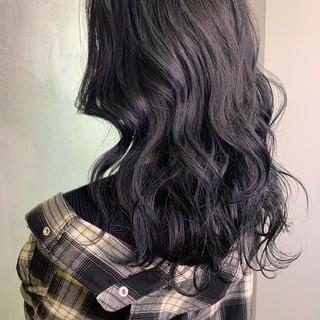 暗髪女子 ロング ネイビーカラー 圧倒的透明感 ヘアスタイルや髪型の写真・画像