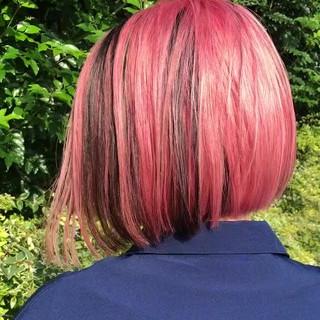 ハイライト ユニコーンカラー バレイヤージュ ストリート ヘアスタイルや髪型の写真・画像