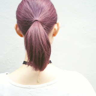ラベンダーピンク ピンク 簡単ヘアアレンジ パープル ヘアスタイルや髪型の写真・画像