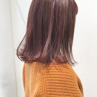 ロブ アンニュイほつれヘア 切りっぱなしボブ ピンク ヘアスタイルや髪型の写真・画像 ヘアスタイルや髪型の写真・画像