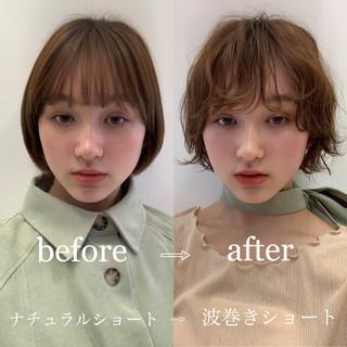 前髪パーマ ショートヘア ナチュラル 前髪 ヘアスタイルや髪型の写真・画像
