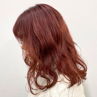 春ヘア ロング チェリーピンク モテ髪 ヘアスタイルや髪型の写真・画像