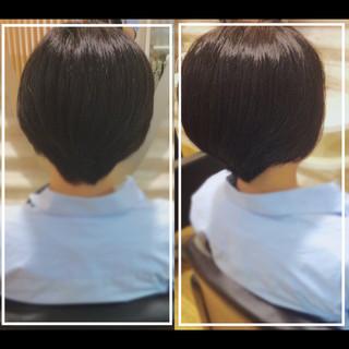 ナチュラル 黒髪 髪質改善 ショート ヘアスタイルや髪型の写真・画像