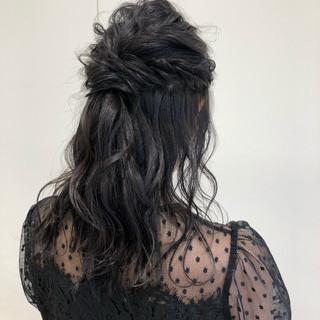 セミロング 結婚式 ヘアアレンジ 簡単ヘアアレンジ ヘアスタイルや髪型の写真・画像