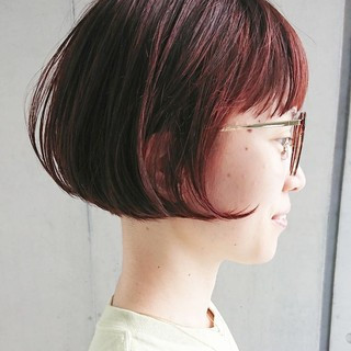 ミニボブ デート ナチュラル 前下がりボブ ヘアスタイルや髪型の写真・画像