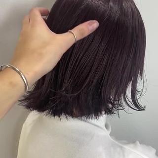 ボブ ラベンダーグレージュ ラベンダーアッシュ ナチュラル ヘアスタイルや髪型の写真・画像