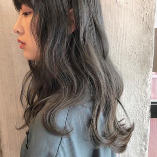 夏 透明感 大人かわいい くすみカラー ヘアスタイルや髪型の写真・画像
