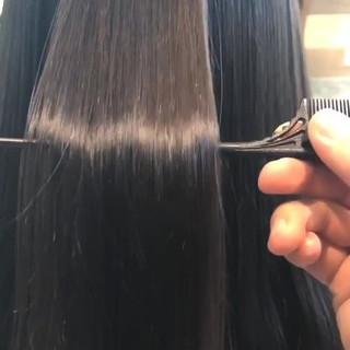 ストレート ナチュラル アッシュ セミロング ヘアスタイルや髪型の写真・画像