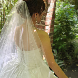 アップ ミディアム 編み込み 結婚式 ヘアスタイルや髪型の写真・画像