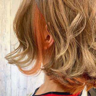 透明感カラー インナーカラーオレンジ ナチュラル ボブ ヘアスタイルや髪型の写真・画像