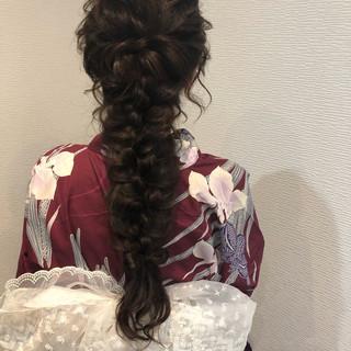 フェミニン ロング 編みおろし ヘアセット ヘアスタイルや髪型の写真・画像