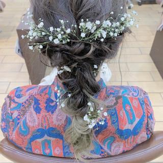 ナチュラル 結婚式 ヘアセット 簡単ヘアアレンジ ヘアスタイルや髪型の写真・画像