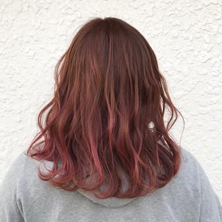 ピンク ミディアム 透明感 外国人風 ヘアスタイルや髪型の写真・画像