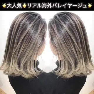 グラデーションカラー 外国人風 ハイライト グレージュ ヘアスタイルや髪型の写真・画像