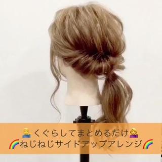 ヘアアレンジ ショート フェミニン ミディアム ヘアスタイルや髪型の写真・画像 ヘアスタイルや髪型の写真・画像