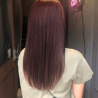 ガーリー 美髪 レッドカラー ツヤ髪 ヘアスタイルや髪型の写真・画像