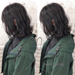 切りっぱなしボブ ゆるふわパーマ ミディアム ナチュラル ヘアスタイルや髪型の写真・画像 ヘアスタイルや髪型の写真・画像