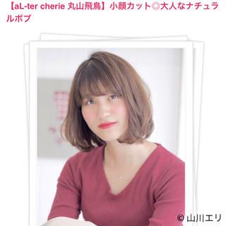 ヘアカラー ナチュラル ボブ 小顔ヘア ヘアスタイルや髪型の写真・画像
