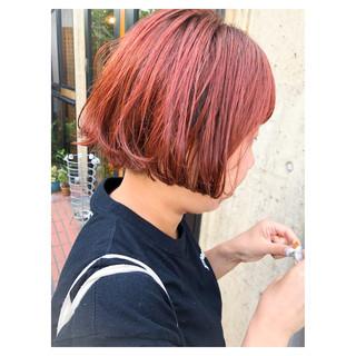レッド 女子力 ストリート ダブルカラー ヘアスタイルや髪型の写真・画像