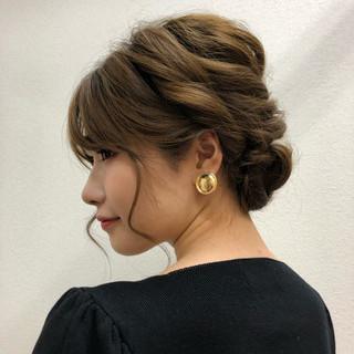 フェミニン 簡単ヘアアレンジ デート 編み込みヘア ヘアスタイルや髪型の写真・画像