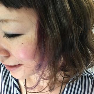 パープル ボブ ピンク インナーカラー ヘアスタイルや髪型の写真・画像