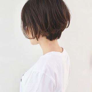 バレイヤージュ グラデーションカラー ショート ハンサムショート ヘアスタイルや髪型の写真・画像