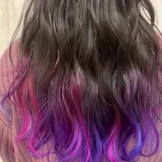 ユニコーン ピンク ブルー フェミニン ヘアスタイルや髪型の写真・画像