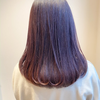 ラベージュ ブリーチなし 暗髪女子 ピンクラベンダー ヘアスタイルや髪型の写真・画像