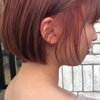 オレンジ フェミニン ピンク ショートボブ ヘアスタイルや髪型の写真・画像