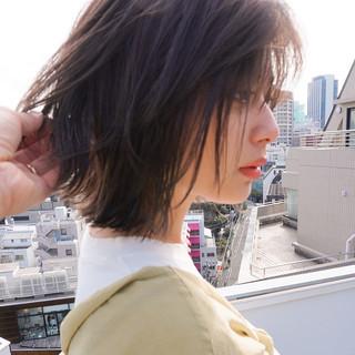 ヘアアレンジ オフィス ボブ アウトドア ヘアスタイルや髪型の写真・画像