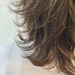 ハイライト 透け感 ウルフ レイヤーカット ヘアスタイルや髪型の写真・画像