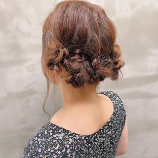 結婚式髪型 セミロング ヘアセット ヘアアレンジ ヘアスタイルや髪型の写真・画像