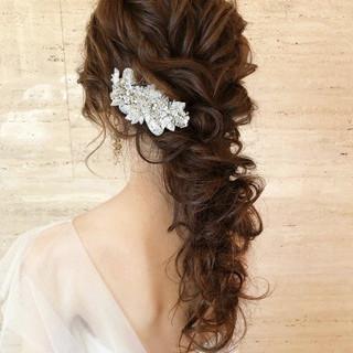 ロング ヘアアレンジ 大人かわいい 結婚式ヘアアレンジ ヘアスタイルや髪型の写真・画像