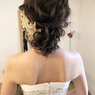 フェミニン ゆるナチュラル 結婚式ヘアアレンジ セミロング ヘアスタイルや髪型の写真・画像