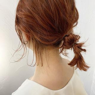 アンニュイほつれヘア オレンジカラー ナチュラル 切りっぱなしボブ ヘアスタイルや髪型の写真・画像