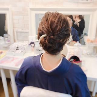 着物 上品 ミディアム エレガント ヘアスタイルや髪型の写真・画像