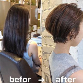 ミニボブ ベリーショート 切りっぱなしボブ ショートヘア ヘアスタイルや髪型の写真・画像