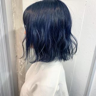 コリアンネイビー ダブルカラー ストリート ネイビー ヘアスタイルや髪型の写真・画像